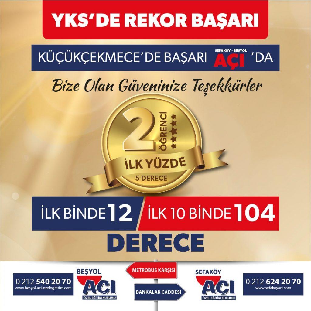 2021 YKS'de ilk Binde 12, İlk 10Binde 104 Derece Sefaköy Açı Özel Öğretim Kursu