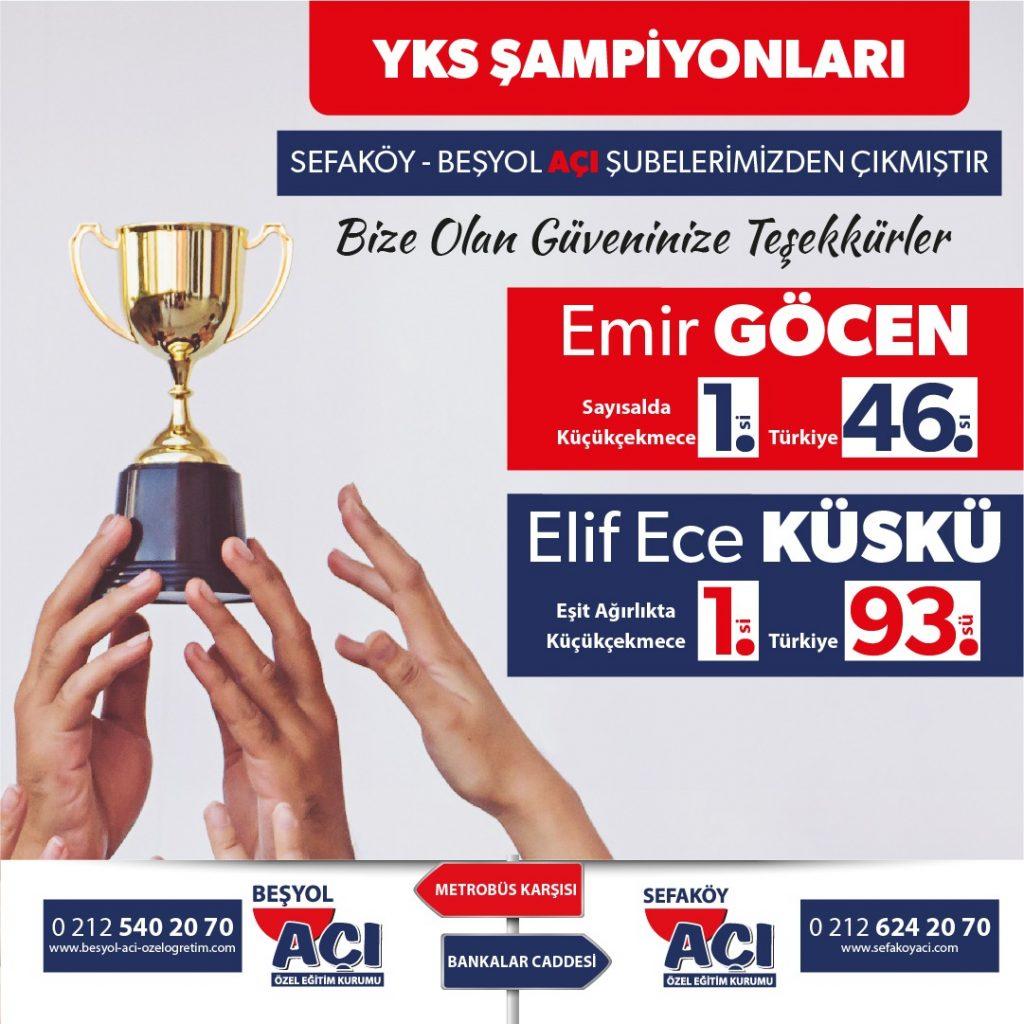2021 YKS Küçükçekmece 1.si Türkiye 46.sı, Eşit Ağırlık Küçükçekmece 1.si Türkiye 93.sü Sefaköy Açı'dan çıkmıştır.
